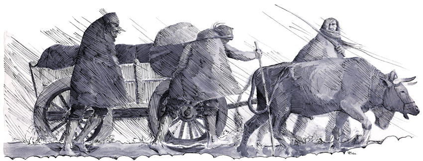 Arbejdsvogn i vadested, keltisk jernalder – Arbeitswagen über Furt, Vorrömische Eisenzeit –  Carriage with team of oxen in a ford, Iron Age