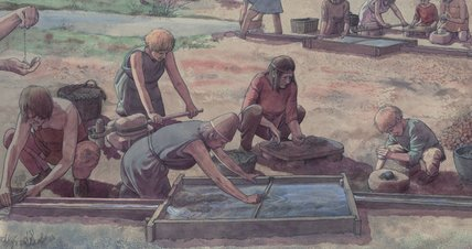 Rensning af kobbermalm, Bronzealder, Troiboden i Mitterberg, Østrig – Aufbereitung von Kupfererz in Bronzezeit, Troiboden in Mitterberg, Österreich – Wet-processing of washed copper-ores, Bronze Age, Mitterberg, Austria